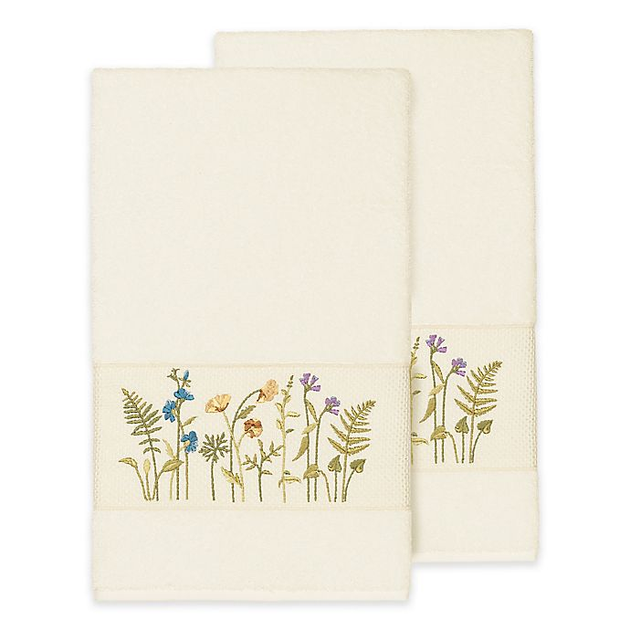 Alternate image 1 for Linum Home Textiles Serenity Wildflower Bath Towels in Cream (Set of 2)
