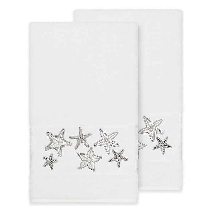 Alternate image 1 for Linum Home Textiles Lydia Bath Towels in White (Set of 2)