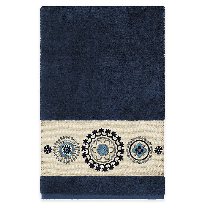 Alternate image 1 for Linum Home Textiles Isabella Bath Towel in Midnight Blue