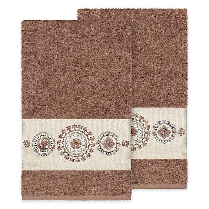 Alternate image 1 for Linum Home Textiles Isabella Bath Towels in Latte (Set of 2)