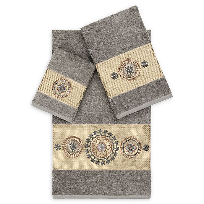 Alternate image 1 for Linum Home Textiles Isabella 3-Piece Bath Towel Set in Dark Grey