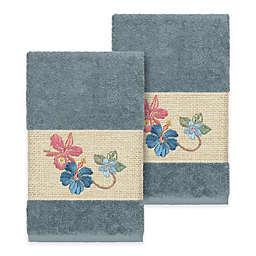 Linum Home Textiles Caroline Hand Towel in Teal (Set of 2)