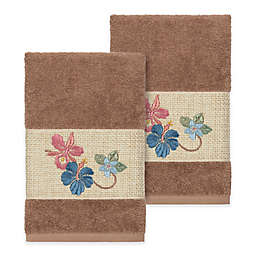 Linum Home Textiles Caroline Hand Towel in Latte (Set of 2)