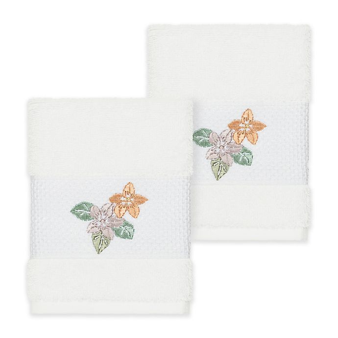 Alternate image 1 for Linum Home Textiles Caroline Washcloth in White (Set of 2)