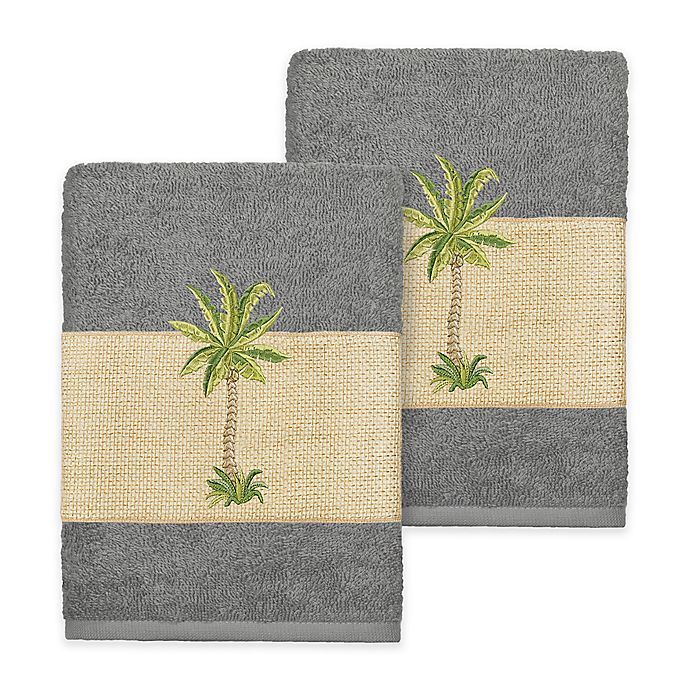 Alternate image 1 for Linum Home Textiles Colton Washcloths in Dark Grey (Set of 2)