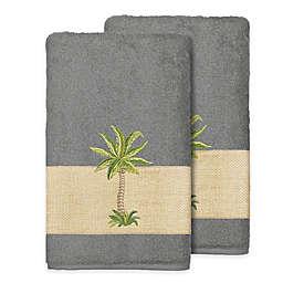 Linum Home Textiles Colton Bath Towels in Dark Grey (Set of 2)