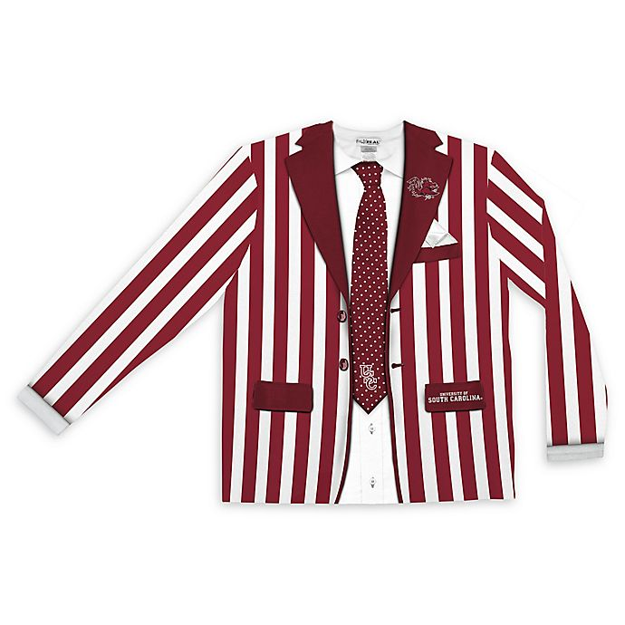 Alternate image 1 for University of South Carolina Men's Medium Striped Faux Suit Long Sleeve T-Shirt