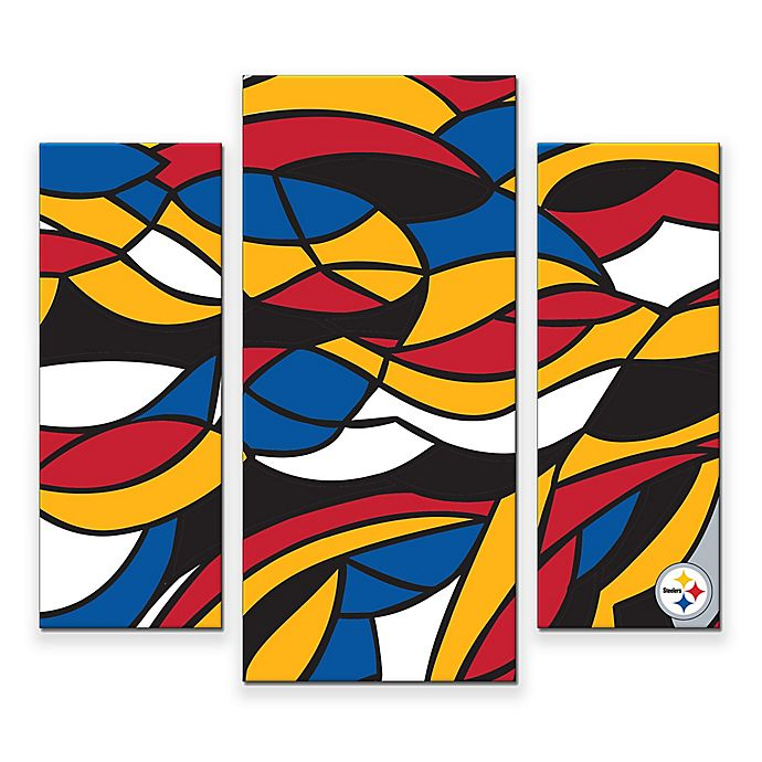 Alternate image 1 for NFL Pittsburgh Steelers 3-Piece Canvas Modern Wall Art Set