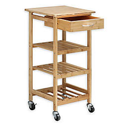 Oceanstar Bamboo Rolling Kitchen Cart in Natural
