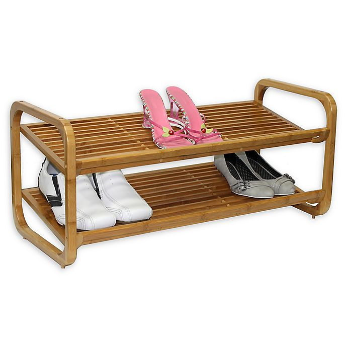 Alternate image 1 for Oceanstar Adjustable Bamboo Shoe Rack in Natural