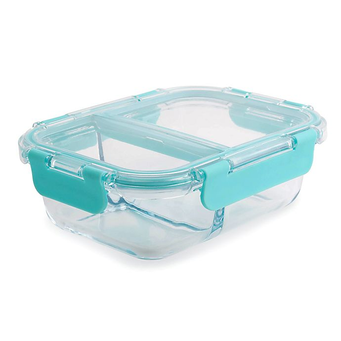 Alternate image 1 for Core Kitchen TrueDivide 19 oz. Glass Food Container with Divider in Blue