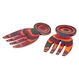 Island Bamboo® Rainbow Pakka Wood Salad Hands (Set of 2)