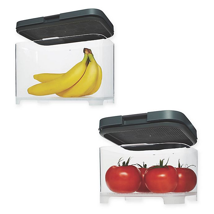 Alternate image 1 for Rubbermaid® Freshworks™ Countertop Produce Container with Lid in Grey/Clear