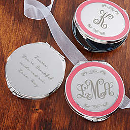 Curly Monogram Engraved Compact Mirror