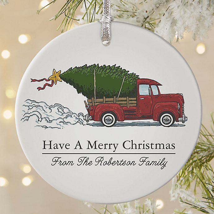 Classic Christmas Vintage Truck Round Matte Ornament Bed Bath Beyond