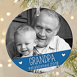Grandparents Established Round Matte Photo Ornament