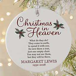 Christmas In Heaven Round Matte Memorial Christmas Ornament