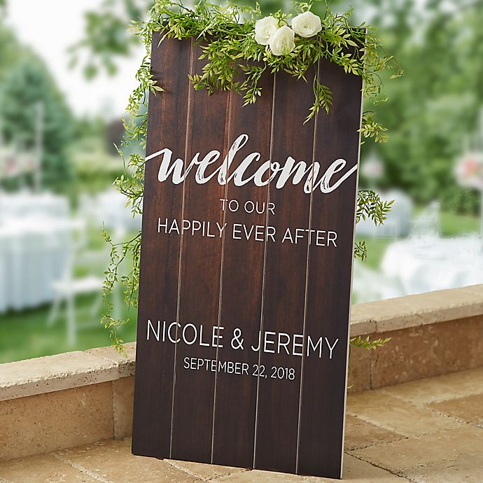 Wedding Welcome Wood Standing Sign Bed Bath Amp Beyond