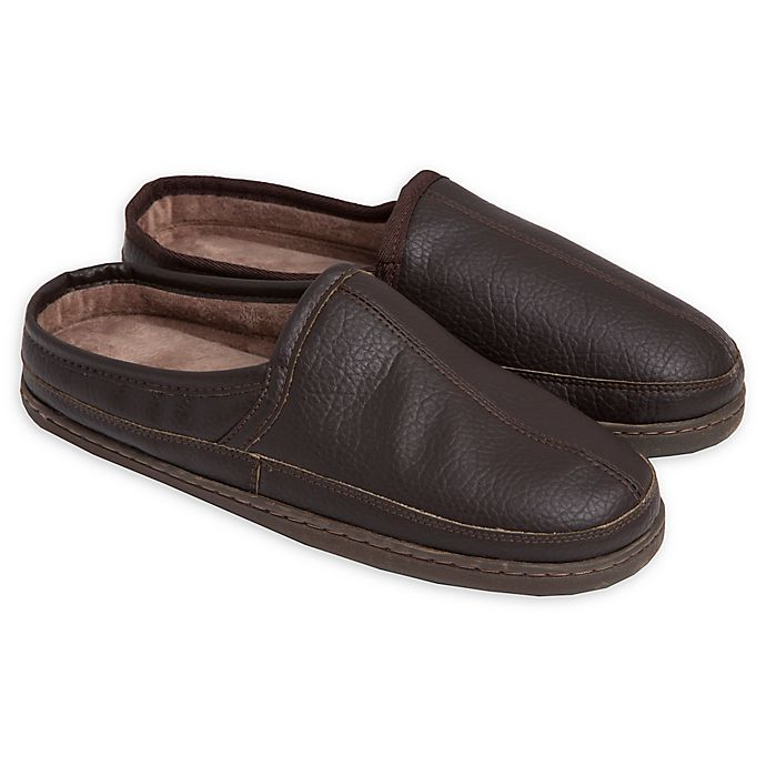010c5cabde3b Loft Living Men s Memory Foam Faux Leather Clog Slippers in Brown ...