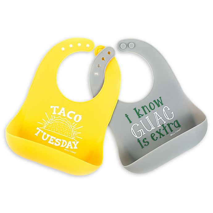 Alternate image 1 for Bella Tunno™ 2-Pack Taco Tuesday Wonder Bibs in Yellow/Grey