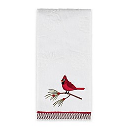 Snow Cardinals Hand Towel in White