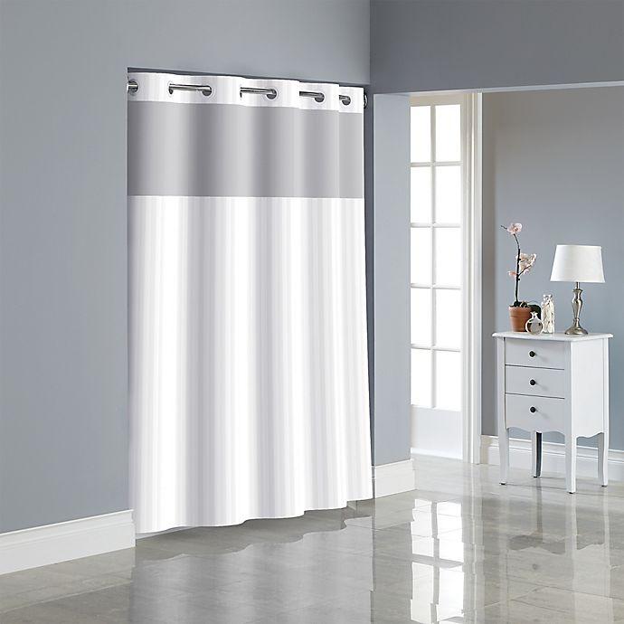 Alternate image 1 for Hookless® Victorian Satin Stripe Shower Curtain in White