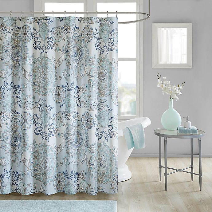 Alternate image 1 for Madison Park Isla Shower Curtain in Blue