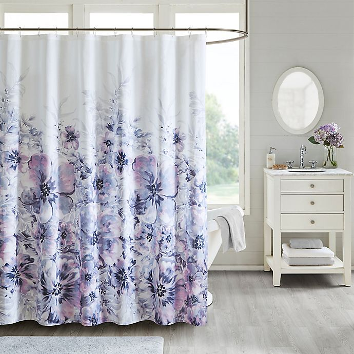 Alternate image 1 for Madison Park Enza Shower Curtain in Purple