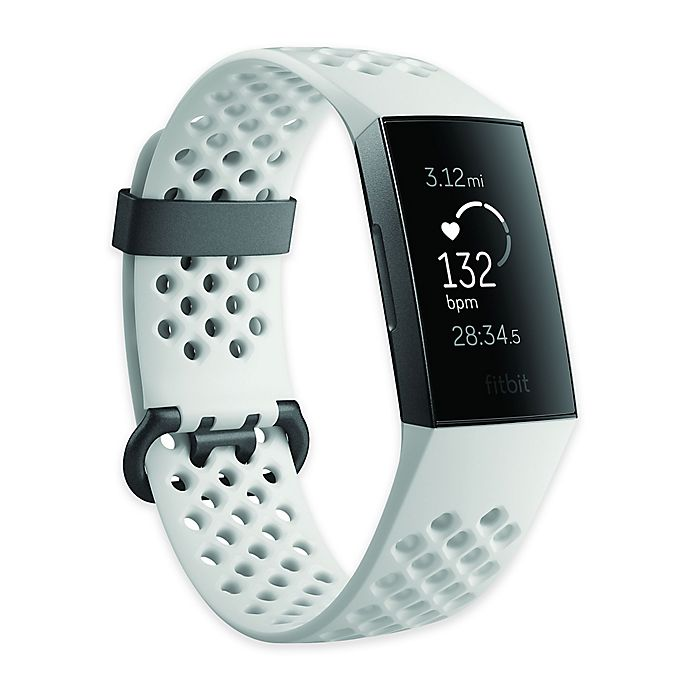 Alternate image 1 for Fitbit Charge 3™ Advanced Fitness Tracker Special Edition Frost White Sport Band/Graphite Aluminum