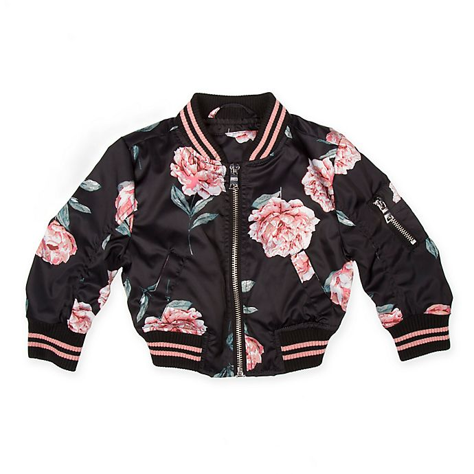 31965bb42e24 Urban Republic Rose Print Sateen Bomber Jacket in Black