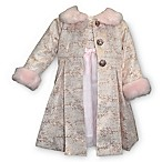 Blueberi Boulevard Size 3-6M 2-Piece Dress and Faux Fur Trim Coat Set in Pink