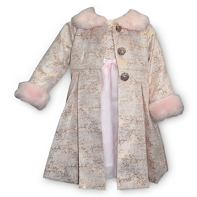 14f2dcfb4 Blueberi Boulevard 2-Piece Dress and Faux Fur Trim Coat Set in Pink ...