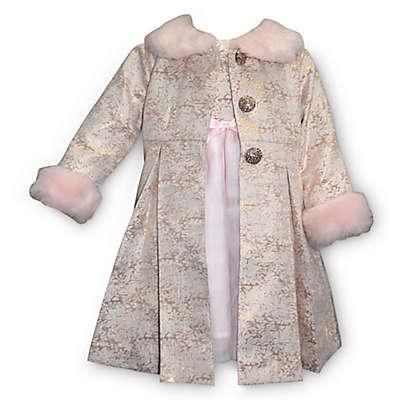 Blueberi Boulevard 2-Piece Dress and Faux Fur Trim Coat Set in Pink