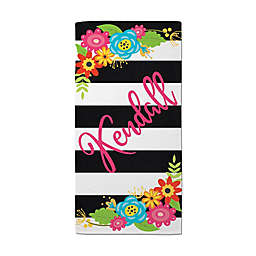 Flowers and Stripes Beach Towel in Black