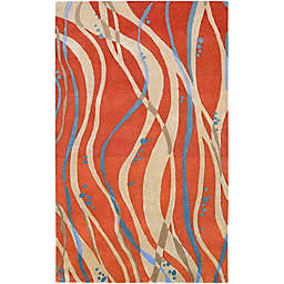 Surya Modern Swirl Rug in Orange/Blue