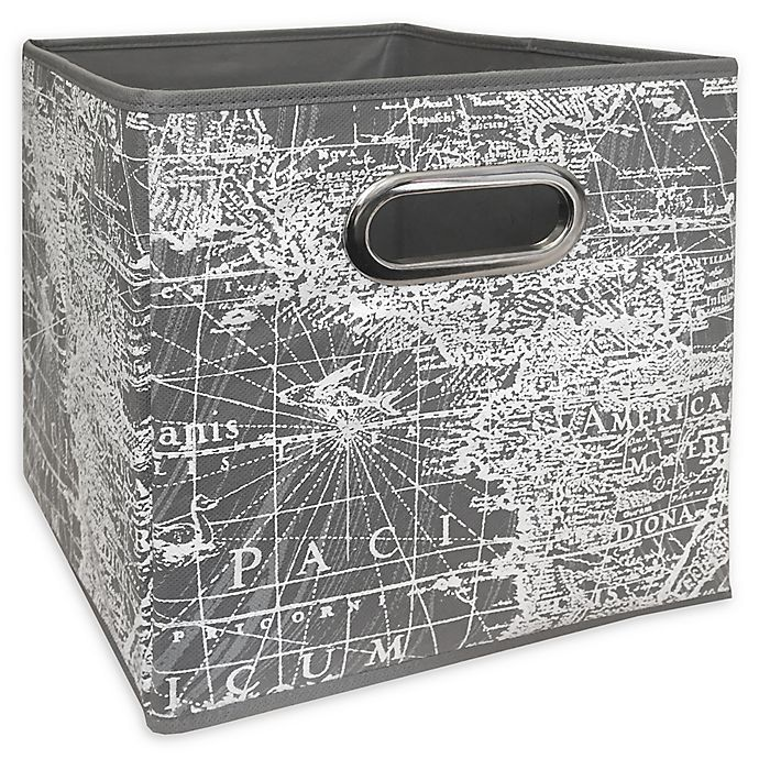 Alternate image 1 for Relaxed Living Vintage Map 11-Inch Square Collapsible Storage Bin