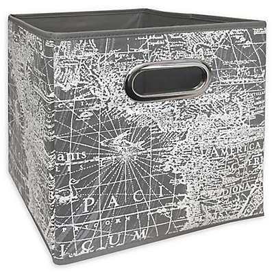 Relaxed Living 11-Inch Collapsible Storange Bin in Grey/White