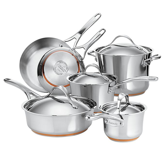 Alternate image 1 for Anolon® Nouvelle Copper Stainless Steel 10-Piece Cookware Set