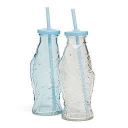 Fish Drinking Bottle Glasses with Straws (Set of 2)