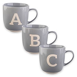 Formations Block Letter Monogram Mug in Grey/White