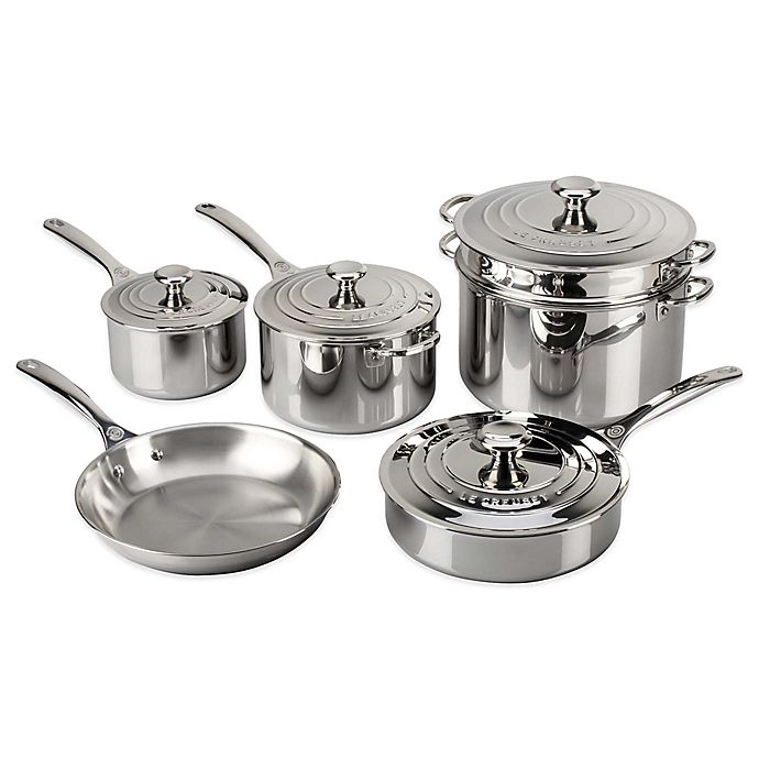 Alternate image 1 for Le Creuset® Tri-Ply Stainless Steel 10-Piece Cookware Set