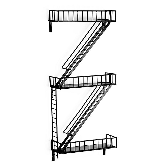 Alternate image 1 for 3-Tier Fire Escape Wall Shelves in Black