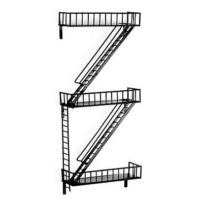 3-Tier Fire Escape Wall Shelves in Black