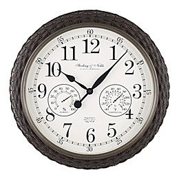 Sterling & Noble™ Woven 23.5-Inch Outdoor Wall Clock/Weather Station in Dark Brown