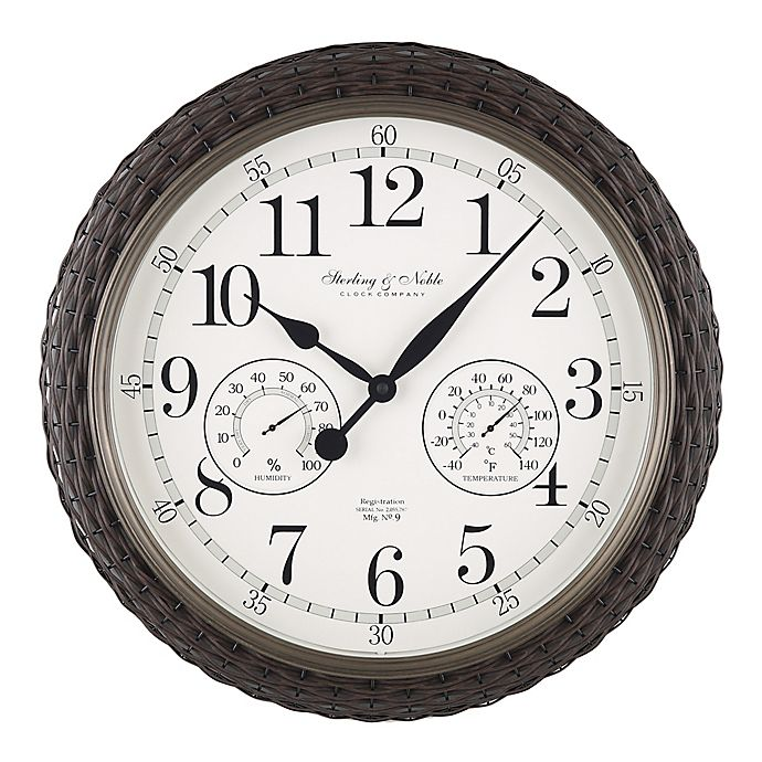 Alternate image 1 for Sterling & Noble™ Woven 23.5-Inch Outdoor Wall Clock/Weather Station in Dark Brown