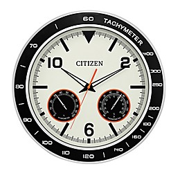 Citizen Outdoor 18-Inch Water-Resistant Wall Clock in Black/Silver