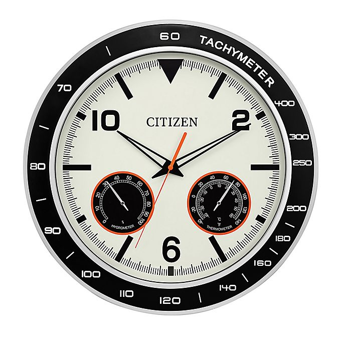 Alternate image 1 for Citizen Outdoor 18-Inch Water-Resistant Wall Clock in Black/Silver