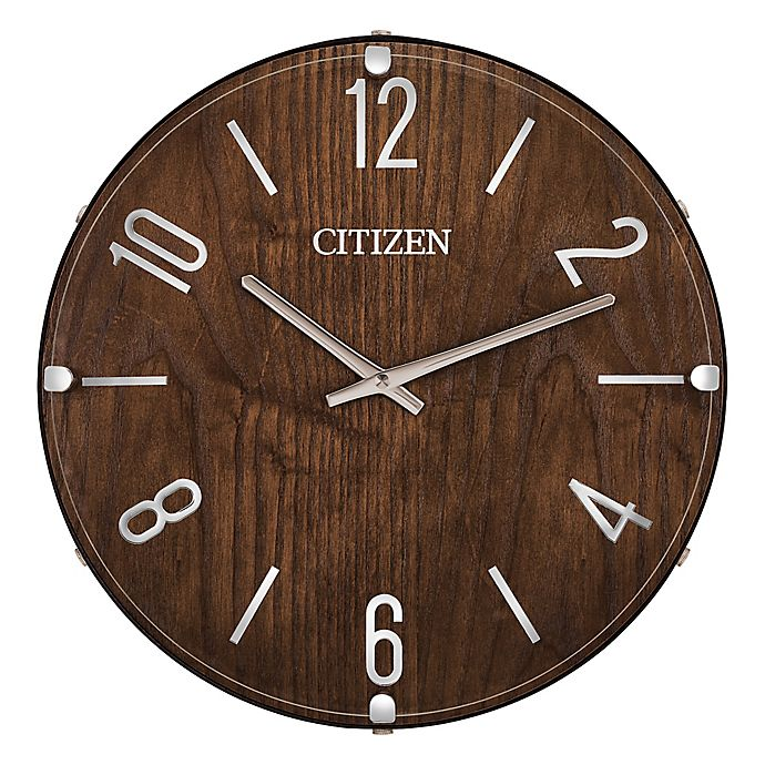 Alternate image 1 for Citizen Gallery 13.5-Inch Round Wall Clock in Dark Wood with Silver Tone Accents