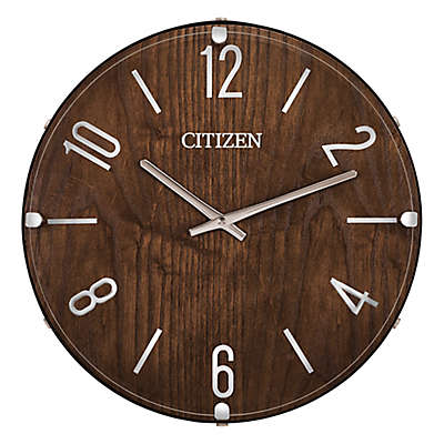 Citizen Gallery 13.5-Inch Round Wall Clock in Dark Wood with Silver Tone Accents