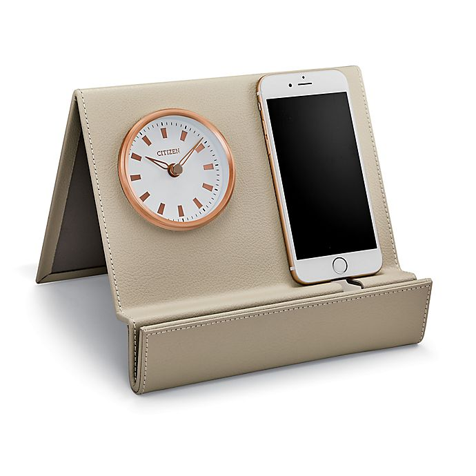 Alternate image 1 for Citizen Leather Desk Clock with Mirror in Beige